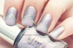 A England - Princess Tears chevron manicure nail art pink, gray and glitter chevron nail art manicure