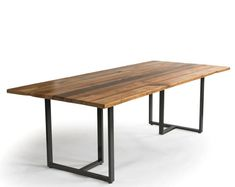 Reclaimed Wood Dining Table with reclaimed wood top and our modern monarch style steel legs. Table Commune, Communal Table, Cafe Furniture, Low Tables, Conference Table, Modern Table, Solid Oak, Industrial Style, Wood Projects