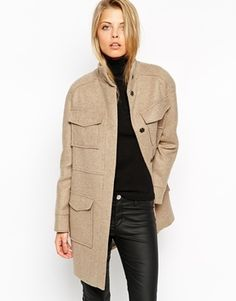 ASOS Coat With Funnel Neck And Utility Pockets - Camel