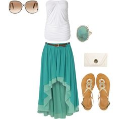 Cute Summer Teal Brown & White, created by alaina-webber on Polyvore