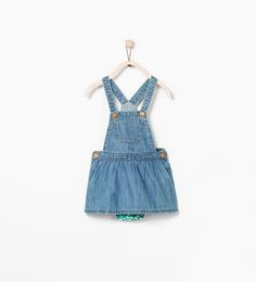 DENIM PINAFORE WITH FLORAL PANTS from Zara Baby Girl