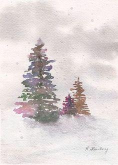 Bildergebnis für Winter-Aquarellbaum Watercolor Journal, Watercolor Projects, Watercolor Trees, Watercolor Cards, Watercolor Paintings, Watercolours, Tree Drawing Simple, Winter Drawings, Watercolor Christmas Cards