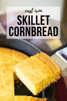 This skillet cornbread is the ultimate comfort food. It has the perfect cornbread texture with beautifully crispy edges. One bite and you'll be hooked on this sweet, golden goodness. Cornbread With Corn, How To Make Cornbread, Sweet Cornbread, Buttermilk Cornbread, Cornbread Recipes, Cast Iron Skillet Cornbread, Grilling Recipes, Cooking Recipes, Bbq Appetizers