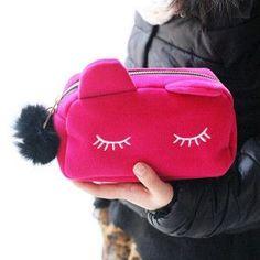 2016 new Cute Cat Shape Cosmetic Bags Cartoon Cell Phone Bags Handbag Makeup Bag organizer bolsa feminina necessaries makeup