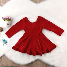 Red Velvet Golden Bow Long Sleeve Dress from kidspetite.com! Adorable & affordable baby, toddler & kids clothing. Shop from one of the best providers of children apparel at Kids Petite. FREE Worldwide Shipping to over 230+ countries ✈️ www.kidspetite.com #dresses #toddler #girl #clothing