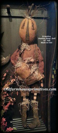 Primitive Pumpkin Head Doll ( Made In USA )