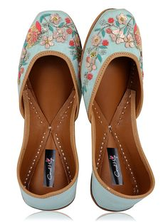 Blue Hand-Embroidered Silk and Leather Juttis with Applique work A Spoonful Of Style, Indian Shoes, Denim Shoes, Women's Shoes, Shoe Boots, Cinderella Shoes, Embroidered Silk, Wedding Shoes, Wedding Outfits