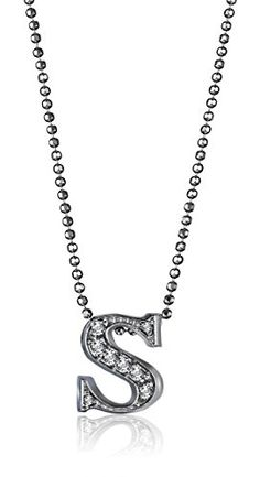 "Alex Woo ""Little Letters"" Diamond and 14k White Gold Pendant Necklace, 16"" - http://www.womansindex.com/alex-woo-little-letters-diamond-and-14k-white-gold-pendant-necklace-16/"