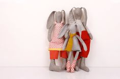 Family  boutiqe Light Gray rabbit Family in Red by TIMOHANDMADE