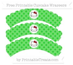 Free Lime Green Polka Dot  Hello Kitty Scalloped Cupcake Wrappers