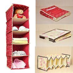 5 Unit Hanging Wardrobe Storage Bag Clothing Shoes Shelves Closet Organizer Case