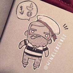 regram @winklebeebee March 1st #dail#artstagram #drawing #illustration #sketch #sketchbook #doodle #scribbles #sailor #beards #design #instaart #igdraws #creative_instaarts #abeautifulmessapp