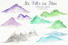 Hand Painted Watercolor Clip Art - Hills, Mountains, Nature, Simple, Landscape This set is part of my MEGA CLIPART BUNDLE (all the clip art in my shop! Watercolor Images, Watercolor Trees, Easy Watercolor, Watercolour, Tattoo Watercolor, Tinkerbell, Mountain Pictures, Mega Pack, Mountain Paintings