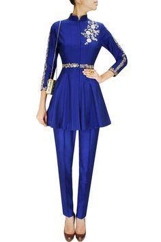Blue dabka embroidered flared kurta set. BY SONALI GUPTA. Shop now at: www.perniaspopups... #perniaspopupshop #designer #stunning #fashion #style #beautiful #happyshopping #love #updates