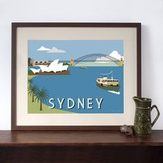 Sydney Harbour Retro Art Print