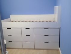 We filled and sanded all of the screw holes and then painted it with quick-dry brilliant white satinwood.