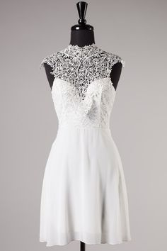 White Sleeveless Lace Dress #cocktaildresses #partydresses #whitedress #lacedress #trendydresses #productswelove