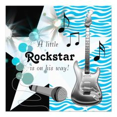 Teal Blue Zebra Rock Star Baby Boy Shower Custom Invitation by The_Baby_Boutique Rock Baby Showers, Baby Shower Niño, Star Baby Showers, Baby Shower Cards, Baby Shower Themes, Baby Boy Shower, Shower Ideas, Shower Party, Shower Gifts