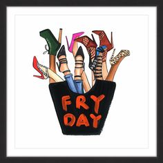 'Fry Day Shoes' Framed Painting Print