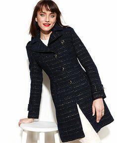 84880205a4d43 Kenneth Cole Reaction Boucle Metallic-Striped Walker Coat Women - Coats -  Macy s