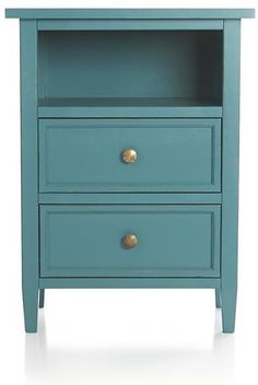 This casual modern bedroom collection from Italy has a relaxed, inviting feel with simple lines in soft blue. Artisan finish is a multistep process of hand pai… Blue Bedside Tables, Nightstand Redo, Nightstand, Blue Nightstands, Blue Drawers, Crate And Barrel, Furniture, Modern Bedroom Collection, Bedroom Furniture