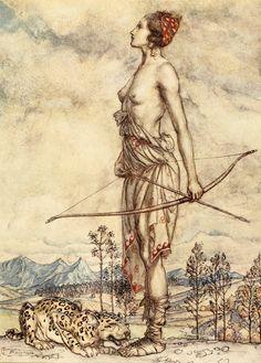 """The huntress Diana"". ART & ARTISTS: Arthur Rackham – part 8"