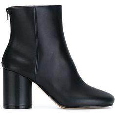Maison Margiela 'Sock' ankle boots ($780) ❤ liked on Polyvore featuring shoes, boots, ankle booties, ankle boots, blue, blue boots, leather ankle booties, chunky booties, chunky-heel ankle boots and short boots