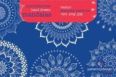 Monochrome Hand Draw Mandalas by Patternly.design on @creativemarket
