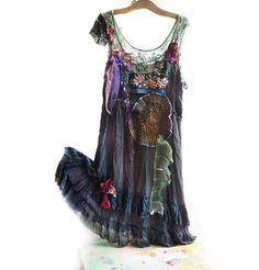 Unique Artistic Elegant Very Dark Green Dress Boho ANTIQUE TRIBAL Hippi Wilde Mexican Gipsy Frida. $330.00, via Etsy.
