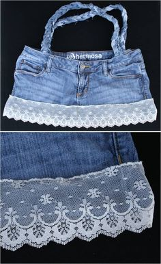 Jean purse with lace.