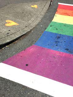 color | rainbow crosswalk - seattle