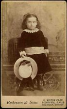 Vintage Victorian Cabinet Card CDV B&W Photo Young Girl Emberson & Sons Chertsey