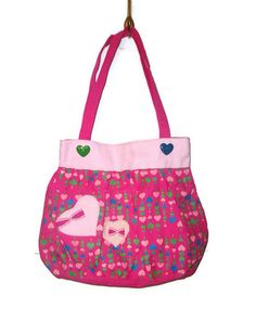 Large Multicolored Heart Bow Kawaii Purse Tote by AccursedDelights, $25.00