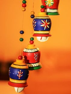 Buy Terracotta Bells Wind Chime by Unravel India - Online shopping for Windchimes in India Wind Chimes Online, Make Wind Chimes, Door Hanging Decorations, Diwali Decorations At Home, Pottery Painting Designs, Paint Designs, Bottle Painting, Bottle Art, Traditional Wind Chimes