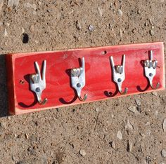 Cool! Peace x Love x Rock On x Fork U Keys Rack. Seen at http://www.etsy.com/shop/jjevensen?ref=seller_info