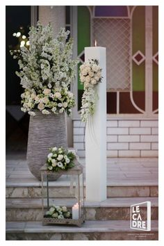 Wedding Wedding Guest Men, Sage Wedding, Floral Wedding, Wedding Flowers, Altar, Wedding Staircase, Sangria Wedding, Church Wedding Ceremony, Centerpieces