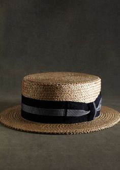 The Great Gatsby Collection Straw Boater Hat with Navy and White Striped Ribbon - Brooks Brothers Great Gatsby Fashion, The Great Gatsby, Fashion 1920s, Film Fashion, Fashion Ideas, Dandy, Mens Dress Hats, Brothers Clothing, Gatsby Style