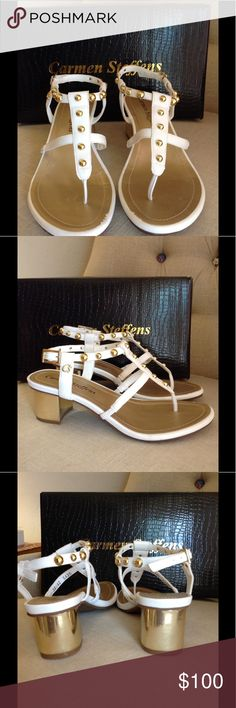 Carmen Steffens white studded sandals Worn once for a photo shoot! Fab condition, white leather block-heeled sandals w gold heel and studs. Original box and dust bag. Carmen Steffens is made in Brazilian sizes and runs just slightly small in European sizes. This Euro 40 fits my true US 9.5 size. Carmen Steffens Shoes Sandals