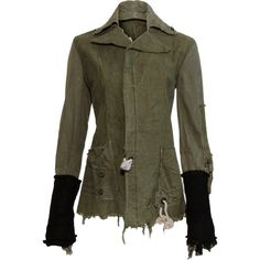 Greg Lauren Army Tent Arm Warmer Jacket ❤ liked on Polyvore featuring outerwear, jackets, greg lauren, brown jacket and army jacket