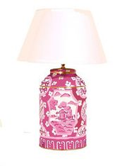 Canton Tea Caddy Lamp Pink from Grace Hayes Linens on Taigan
