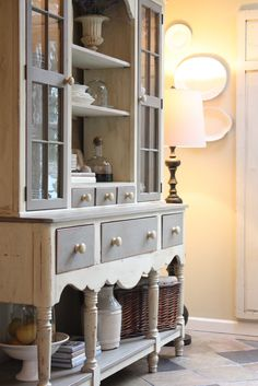 Beautifully painted in French Linen and Old White Chalk Paint® decorative paint colours by Annie Sloan