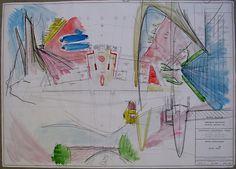 First Floor Plan and Perspective Sketch, Kopp Residence Camelback Mountains, AZ (Phoenix) by Santiago Calatrava