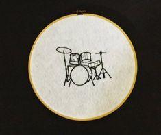 Embroidered Drum Kit Wall Hoop Art - Black on White Felt - 8 Inch Hoop Drum Tattoo, Drum Patterns, Embroidered Hats, Drum Kits, Hand Embroidery, Embroidery Hoops, Felt Fabric, Drums, Cross Stitch Patterns