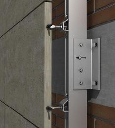 PF-ALU/CLA - Anclaje regulable de gran simplicidad y resistencia, específico para ser montado sobre la perfilería de aluminio PF-ALU. Cladding Design, House Cladding, Cladding Panels, Cladding Systems, Metal Cladding, Exterior Cladding, Facade Design, House Design, Curtain Wall Detail