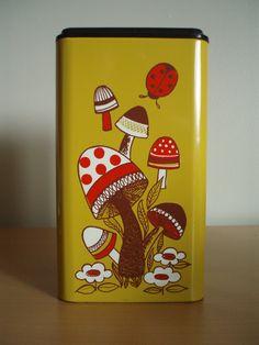 Vintage 70s Mushroom Metal Canister Tin Retro Gold Ransburg Great Condition   eBay