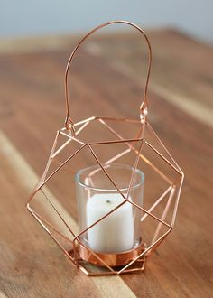"""Copper Metal Geometric Stand with Handle and Glass Candle Holder 4.75"""" x 7.5"""""""