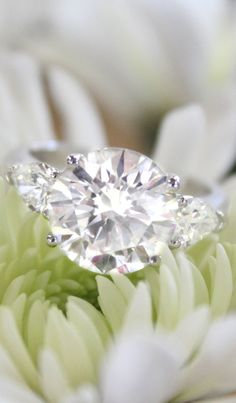 Our spectacular Stephania estate ring features a dazzling diamond center with a pear-shaped diamond on each shoulder.