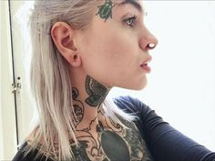 Floating Nomad Face Tattoos, Girl Tattoos, Tatoos, Tattoed Girls, Inked Girls, Stretched Septum, Unique Body Piercings, Androgynous Boy, Surreal Tattoo