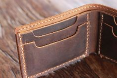 Men's Leather Wallet Minimalist Bifold Ultra Slim by JooJoobs