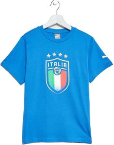 Support the Azzuri in style with the Official FIGC PUMA fan wear collection. Stylish cotton tee with large new official FIGC pigment crest in a blurred execution on front, PUMA Cat branding as pigment print on left sleeve Puma Cat, Soccer Fans, Cotton Tee, Badge, Stylish, Tees, Sleeves, Mens Tops, How To Wear